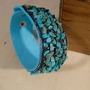 Jewelry - Suede Bracelet with Turquoise